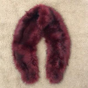 Accessories - Deep Red Furry Vintage Shawl